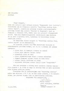 Pismo Milana Tasića DOB-u, 23. oktobar 1981.