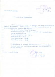 Nalog službi obezbeđenja, 20. jun 1985.
